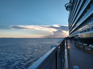 image of a cruise ship on the open sea
