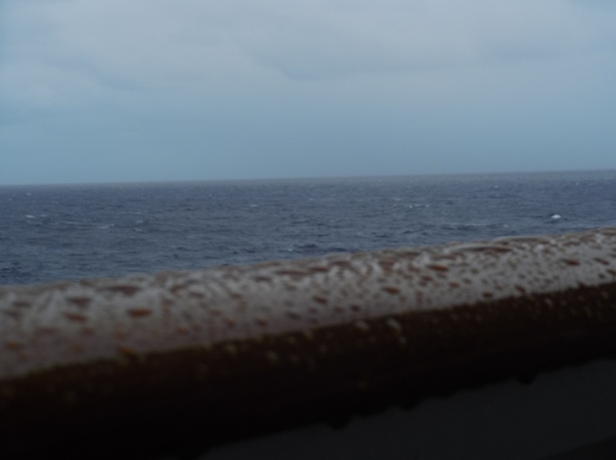 rain drops on a balcony railing with ocean in background